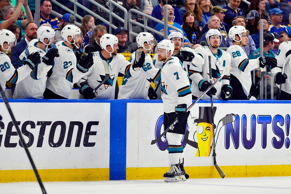 May 21, 2019; San Jose Sharks center Dylan Gambrell is congratulated by teammates after scoring a goal against the St. Louis Blues during the second period during the second period in game six of the Western Conference Final of the 2019 Stanley Cup Playof