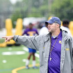 LSU offensive line coach Jeff Grimes coaches during a Tigers practice. Thursday morning, BYU announced that it has hired Grimes to become the new offensive coordinator at BYU.