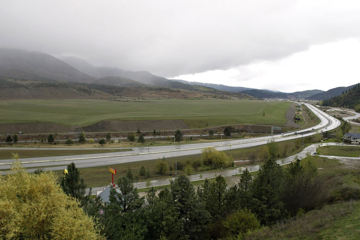 This April 15, 2004 file photo shows Interstate 90 in the Silver Valley in Kellogg, Idaho. Why so many people are moving to Idaho during the pandemic? Safety might be the reason.