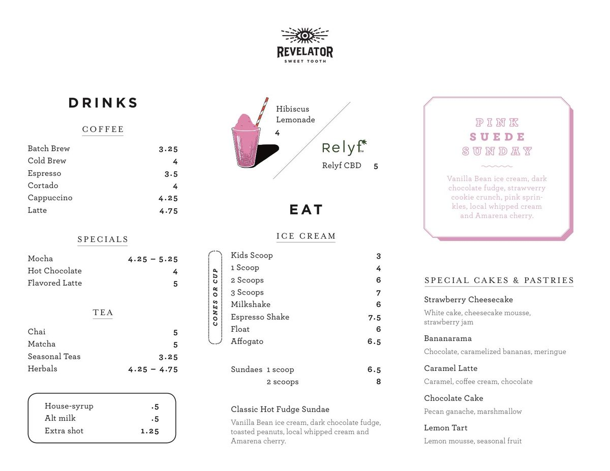 The menu for Sweet Tooth Cafe at Phipps Plaza in Buckhead, Atlanta