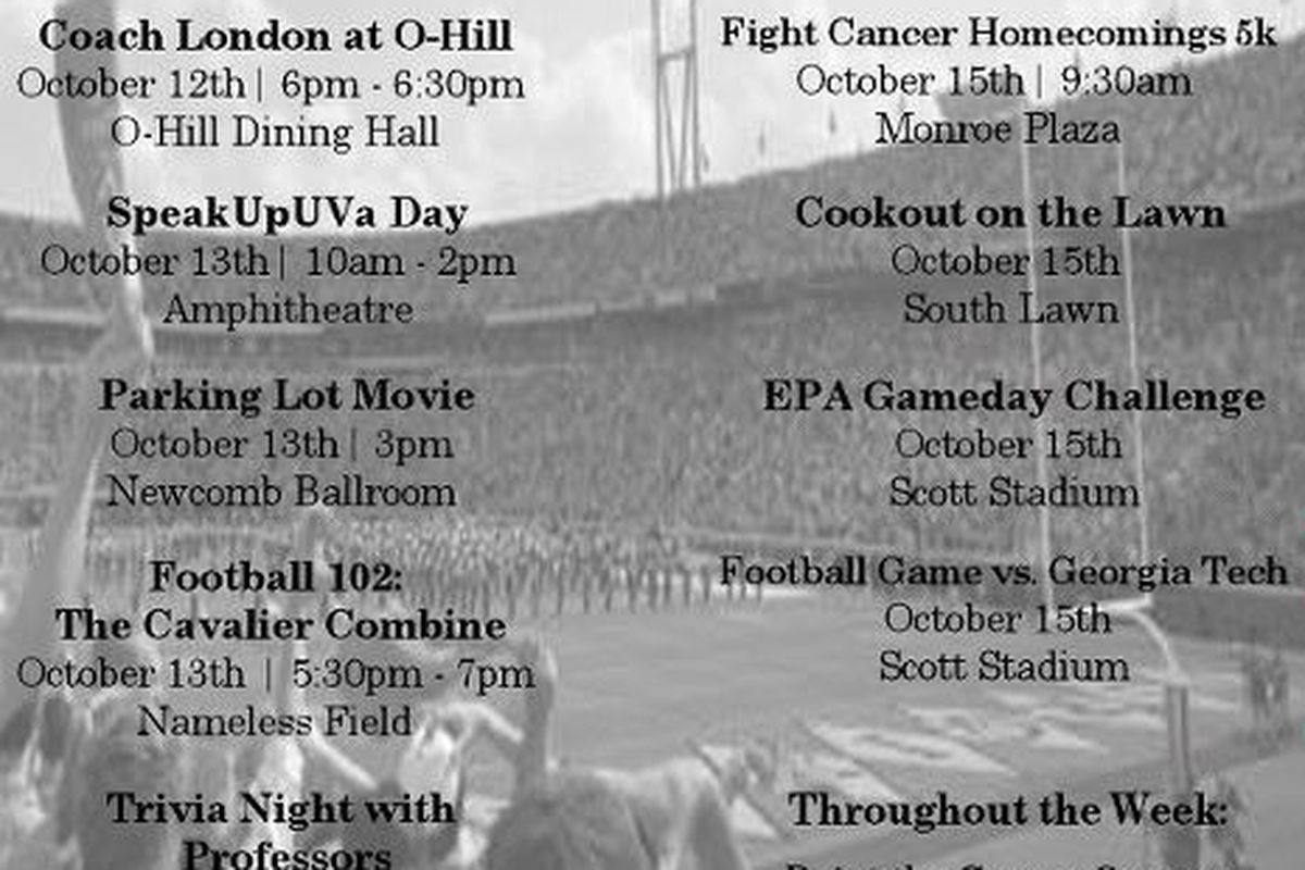 Schedule of events for UVA Homecomings Week