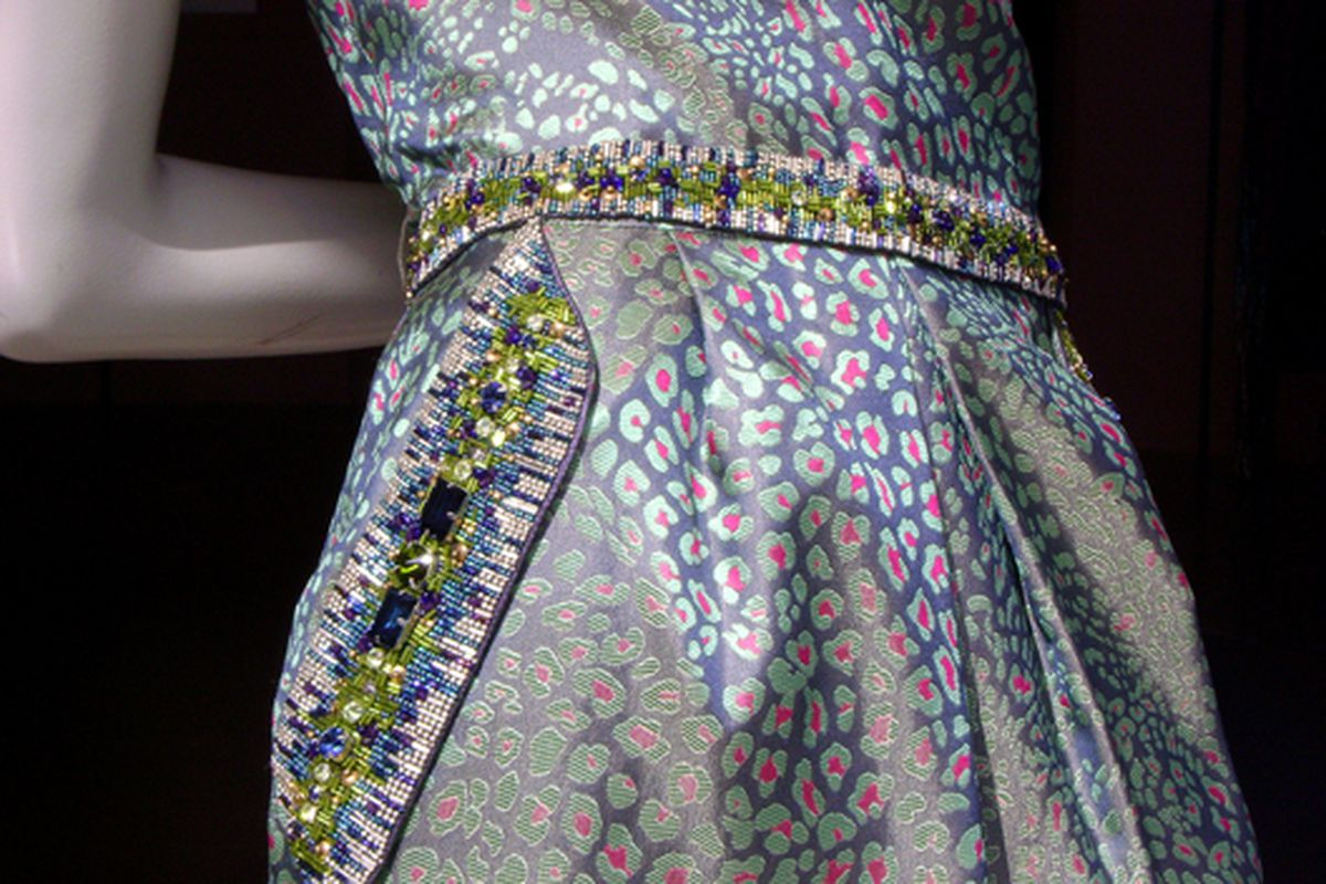 """The intricately beaded pocket of a dress in the window of Matthew Williamson via <a href=""""http://www.flickr.com/photos/jetsetcd/3895220898/in/pool-rackedny"""">jetsetcd</a>/Racked Flickr Pool"""