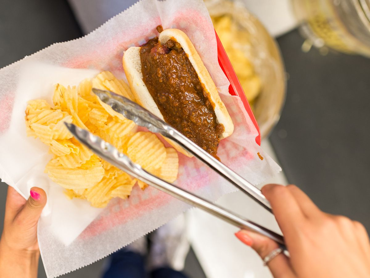 A classic half-smoke from Ben's Chili Bowl.