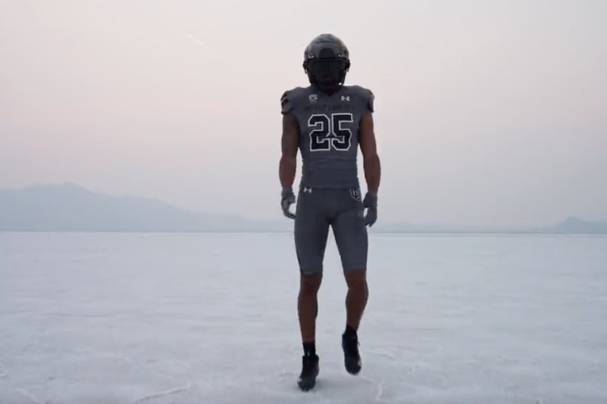 """The Utah Utes' 'USS SALT LAKE CITY"""" uniforms that they will wear during a game against the Oregon Ducks on Nov. 20, 2021."""