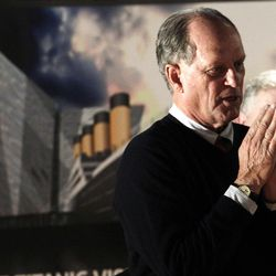 Professor Robert Ballard,professor of oceanography at the University of Rhode Island., pauses while speaking to the media at the Titanic Belfast Building, Northern Ireland, Saturday, April 14, 2012.  Ballard and his team discovered the wreck of the Titanic in 1985. (AP Photo/Peter Morrison)