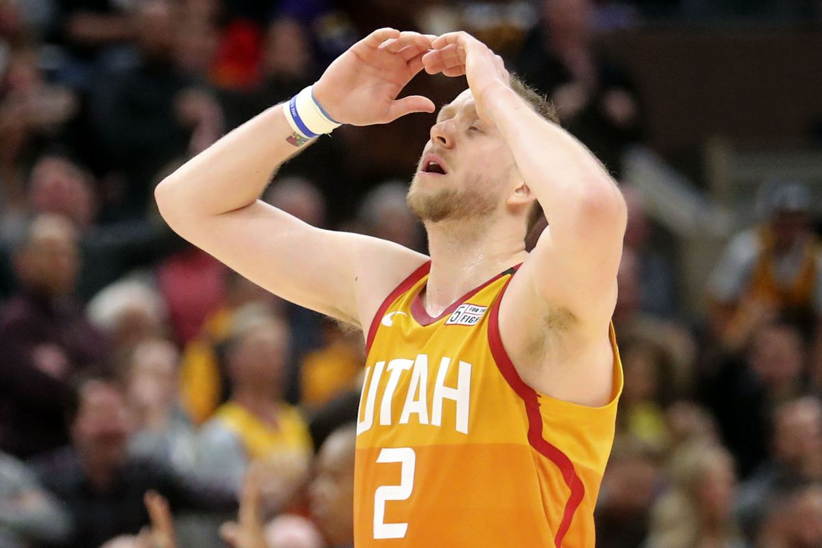 Utah Jazz guard Joe Ingles (2) reacts to a foul being called against the Jazz during an NBA game against the Toronto Raptors at Vivint Arena in Salt Lake City on Monday, March 9, 2020. The Jazz lost 92-101.