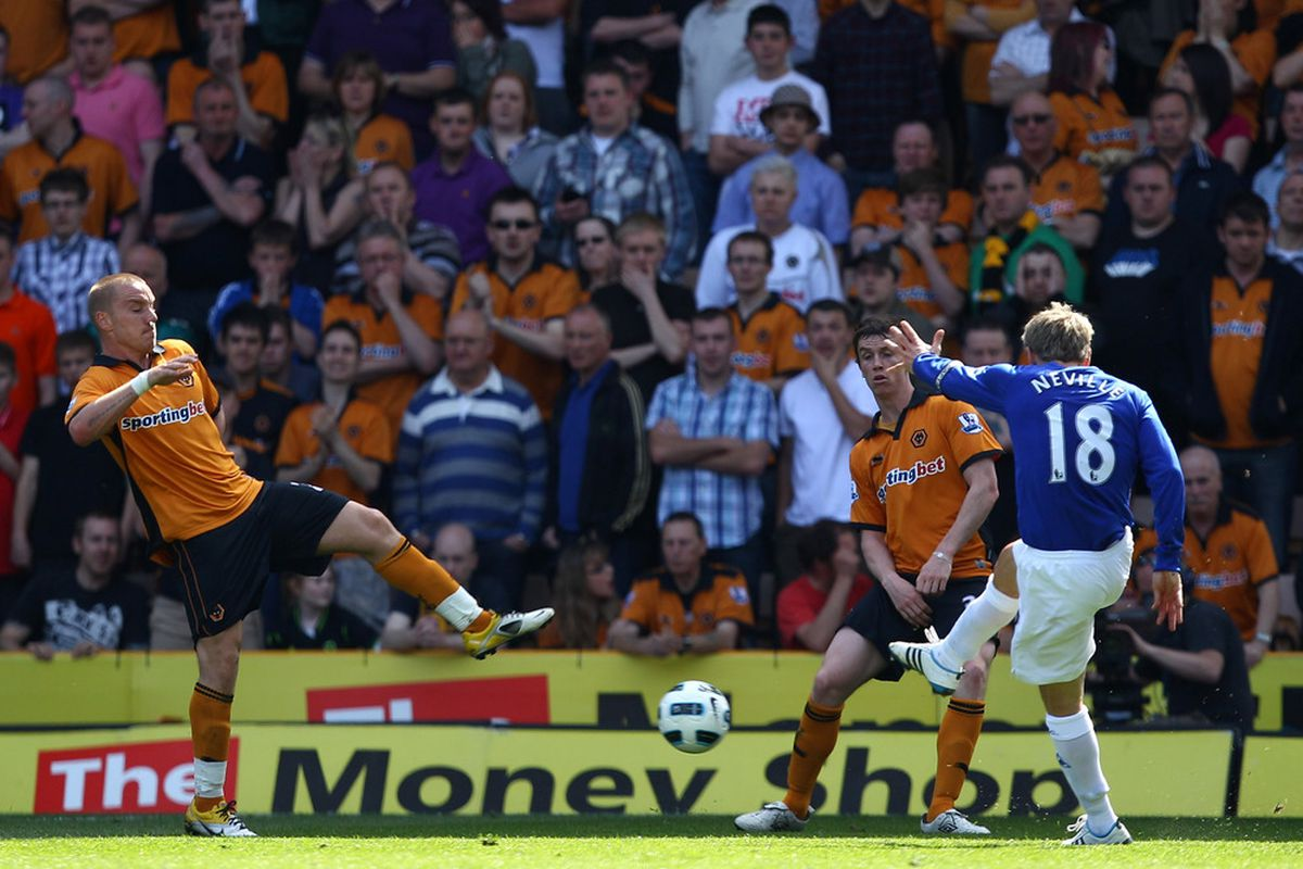 Strange things happen at Molineux - last time Everton were here Phil Neville got a shot on goal, and scored too!  (Photo by Richard Heathcote/Getty Images)