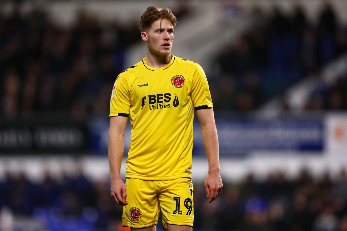 Lewis Gibson of Fleetwood Town is seen during the Sky Bet...