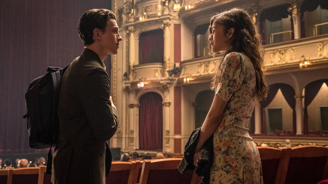 Peter Parker (Tom Holland) and MJ (Zendaya) in <em>Spider-Man: Far From Home</em>.