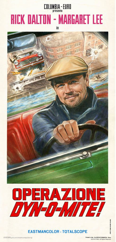A poster for a thriller called Operation Dyn-o-mite, starring Rick Dalton, pictured driving a car.