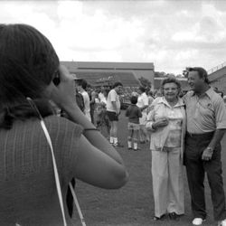 1985-Coach Bobby Bowden poses with a woman for Instagram