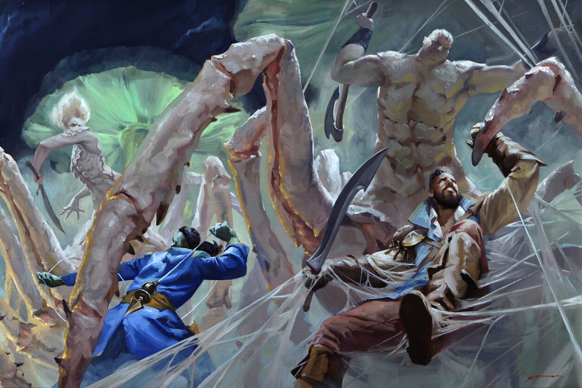 A warrior with a scimitar, trapped in webs, battles a spidery man with large abs.