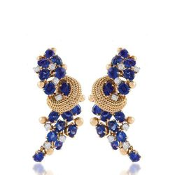 Macklowe Gallery. A pair of Marchak diamond, sapphire, and gold earrings. French, c. 1950's.