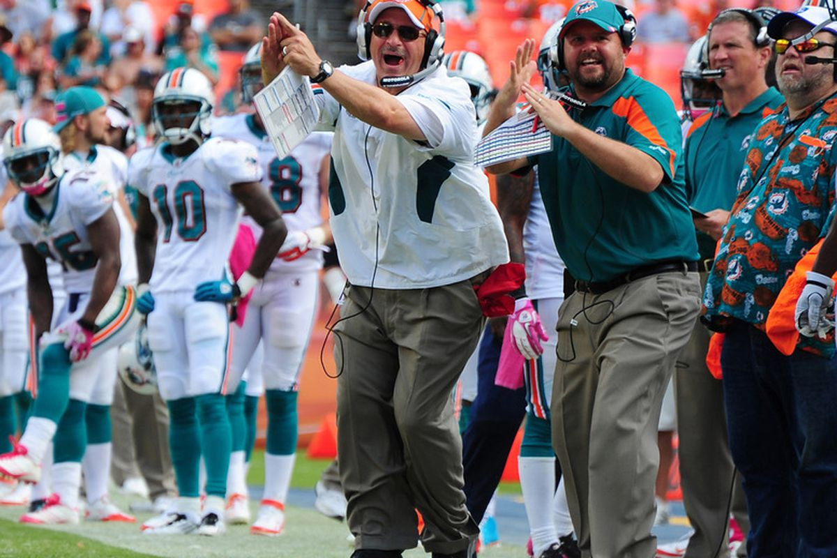 MIAMI GARDENS, FL - OCTOBER 23: Head Coach Tony Sparano of the Miami Dolphins disputes a call during the game against the Denver Broncos at Sun Life Stadium on October 23, 2011 in Miami Gardens, Florida. (Photo by Scott Cunningham/Getty Images)