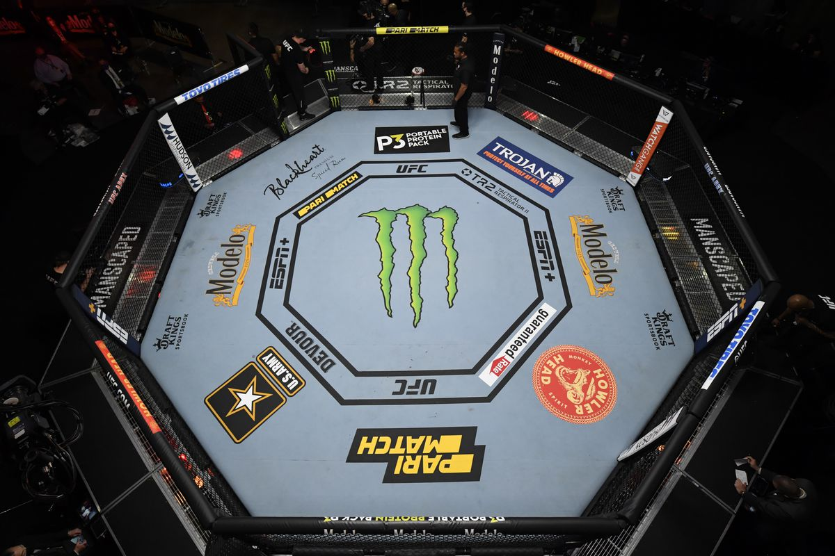 An overhead view of the UFC Octagon at the Las Vegas Apex facility.