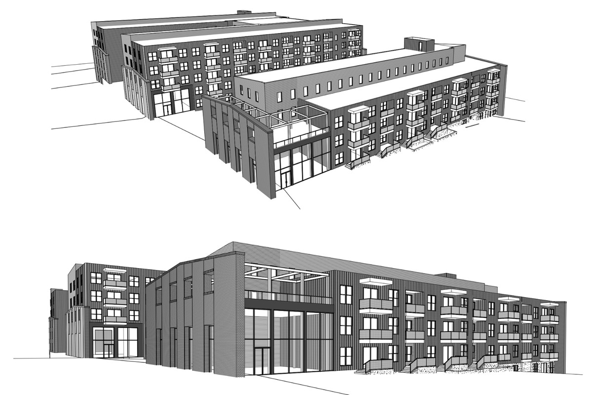 A black-and-white rendering shows three proposed apartment buildings.