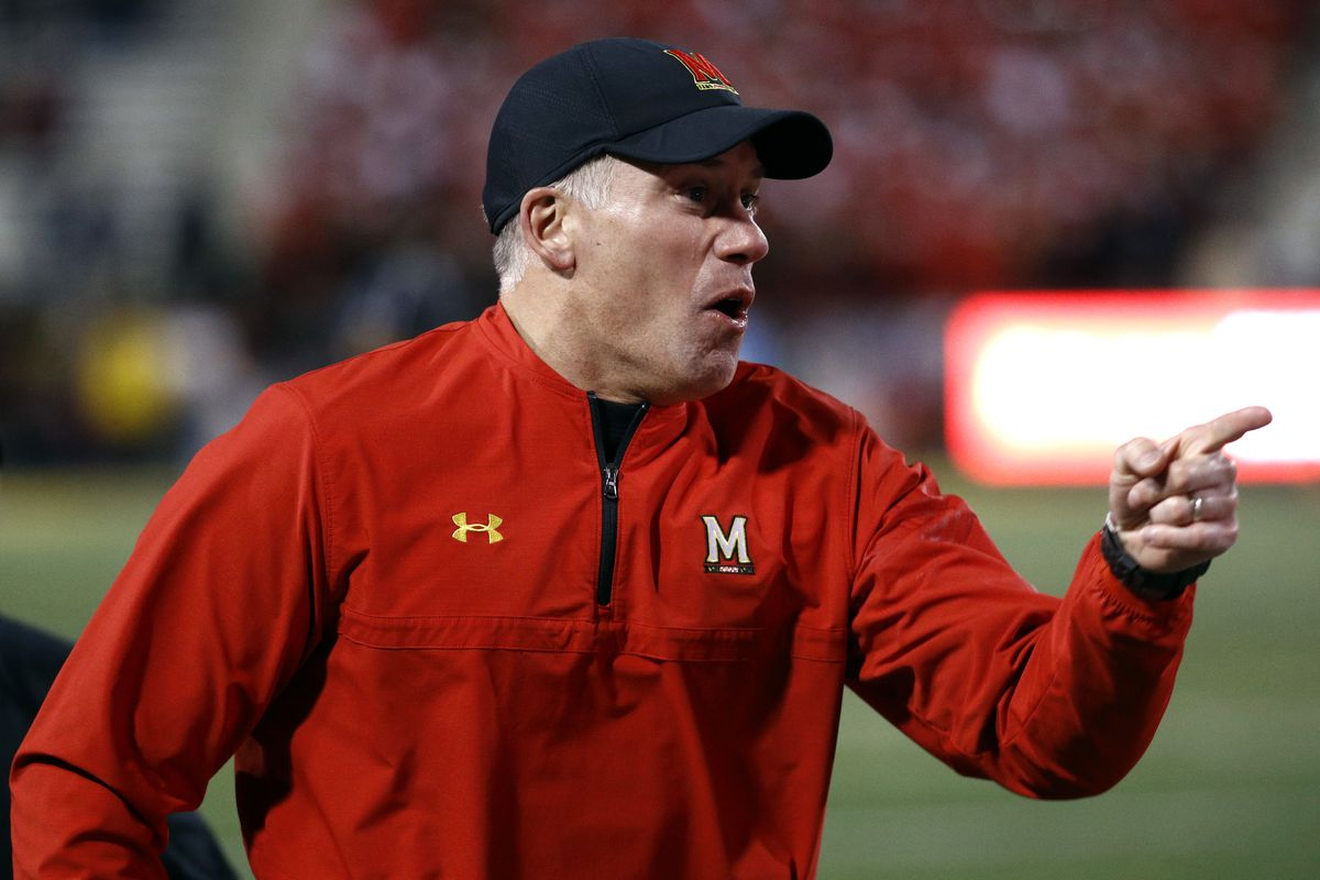 Maryland head coach DJ Durkin yells at an official in the second half of an NCAA college football game against Michigan in College Park, Md., Saturday, Nov. 11, 2017. (AP Photo/Patrick Semansky)