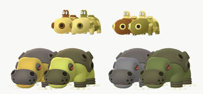Hippopotas and Hippodown have their own Shiny Forms, all of different shades of yellow, green and green