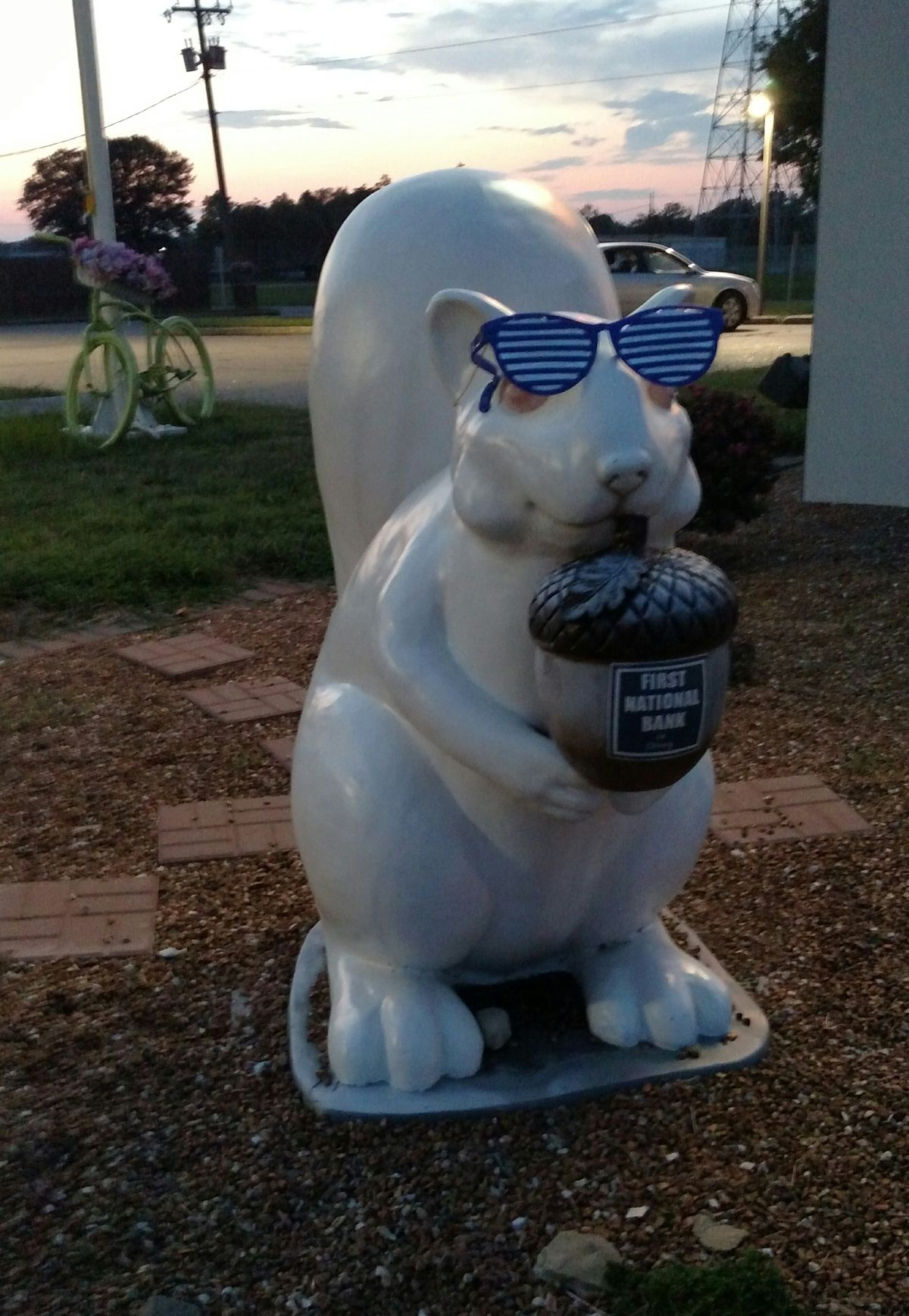 We saw no white squirrels in Olney, but we did find this fiberglass statue by a nearby bank.<br>Credit: Dale Bowman