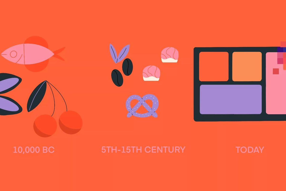 A timeline of foods portrayed on a red background
