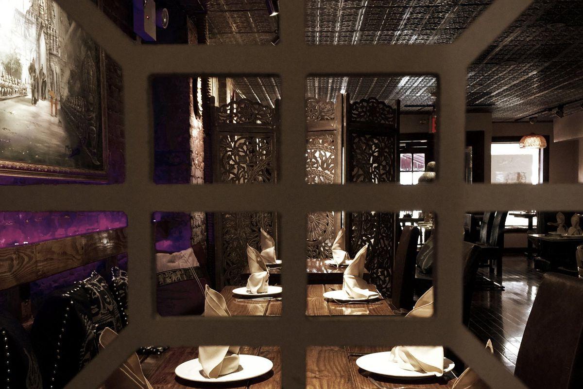 A dark dining room