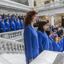 FILE - Members of the Mormon Tabernacle Choir perform during the inauguration Monday, Jan. 7, 2013, of Gov. Gary R. Herbert and Lt. Gov. Greg Bell in the rotunda of the Utah Capitol.