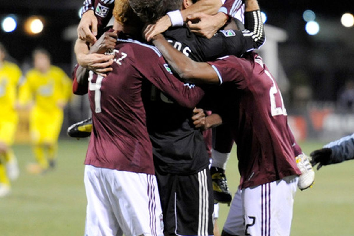 COLUMBUS OH - NOVEMBER 6:  Members of the Colorado Rapids celebrate after defeating the Columbus Crew on penalty kicks to advance in the playoffs on November 6 2010 at Crew Stadium in Columbus Ohio.  (Photo by Jamie Sabau/Getty Images)