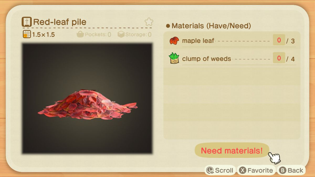 A recipe list for a Red-leaf Pile