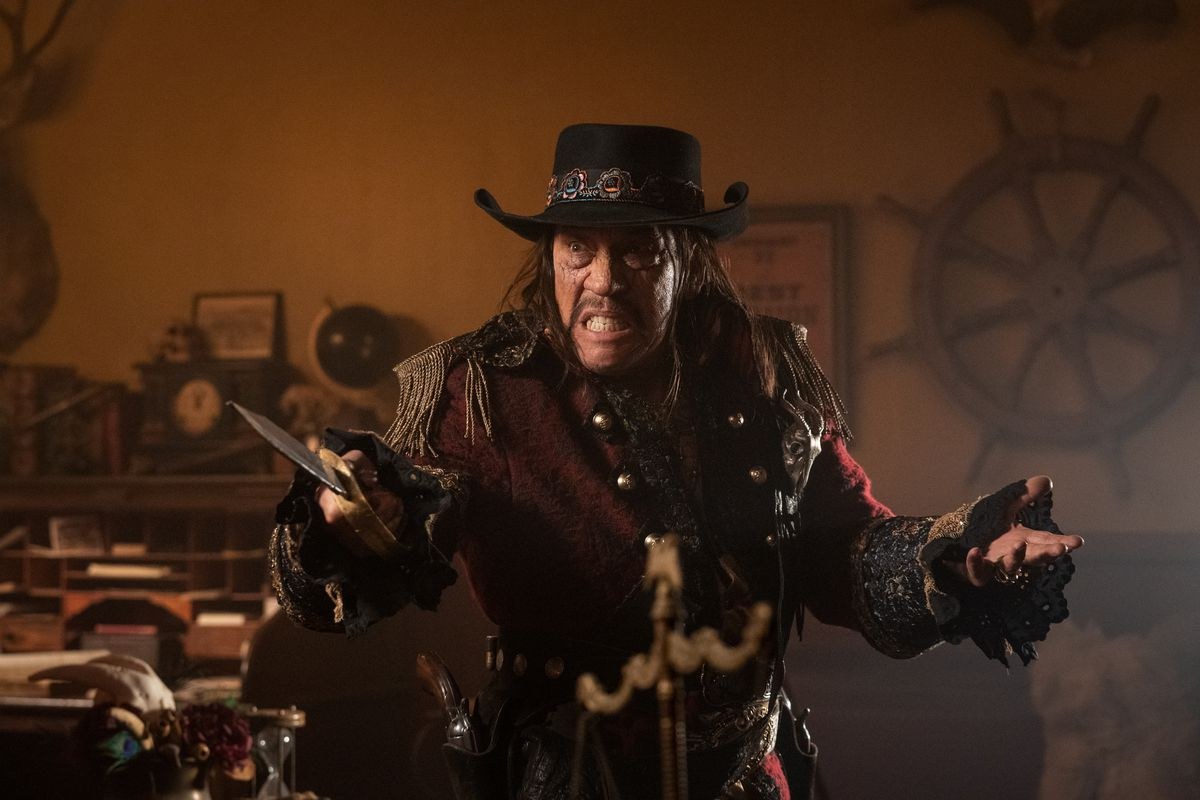 Danny Trejo brandishes a knife and a scowl in Sponge On the Run.