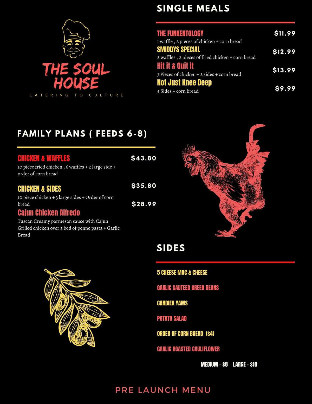The menu from The Soul House