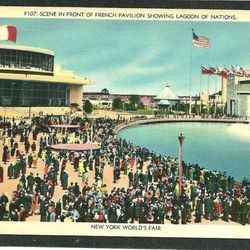 """Postcard of The French Pavilion and the Lagoon of Nations via <a href=""""http://www.ebay.com/itm/NEW-YORK-WORLDS-FAIR-1939-FRENCH-PAVILION-LAGOON-/280671437412#ht_544wt_660"""">eBay</a>."""