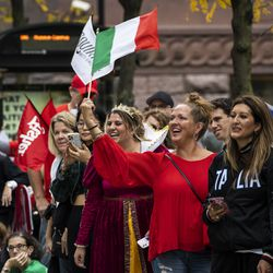 Hundreds wave Italian flags as the Columbus Day Parade travels down North State Street in the Loop, Monday afternoon, Oct. 11, 2021.