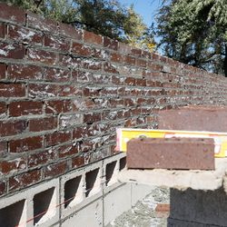An brick wall is pictured during the Spec Mix Bricklayer 500 regional competition at Interstate Brick in West Jordan on Friday, Oct. 9, 2020.