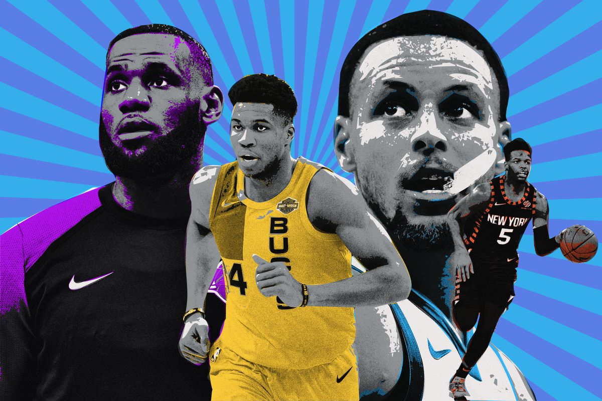 LeBron James, Giannis Antetokounmpo, Steph Curry, and Dennis Smith Jr.