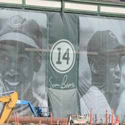 3:32 p.m. Closer view of the Ernie Banks banners -