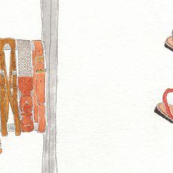 Left: An assortment of belts. Right: Ishvara nubuck Albarcas sandal in Piedra or Gorbi, $160.