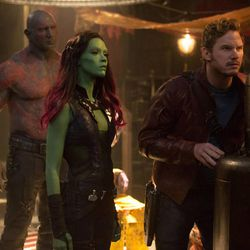 Drax the Destroyer (Dave Bautista), from left, Gamora (Zoe Saldana) & Peter Quill/Star-Lord (Chris Pratt) in Marvel's Guardians of the Galaxy.