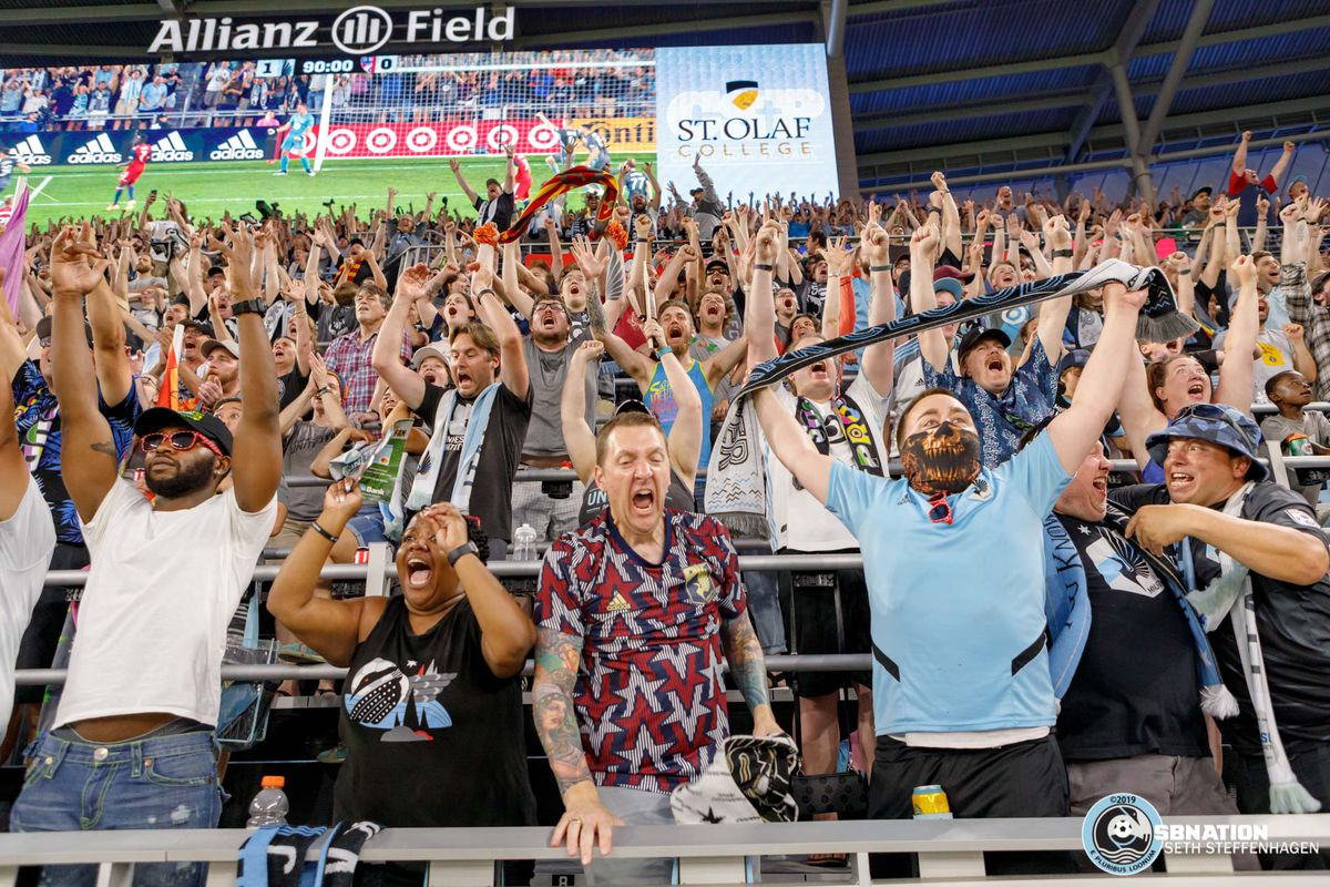 July 13, 2019 - Saint Paul, Minnesota, United States - Minnesota United goalkeeper Vito Mannone (1) saves penalty kick to lead the Loons to a 1-0 victory over FC Dallas match at Allianz Field as the Wonderwall erupts with joy.