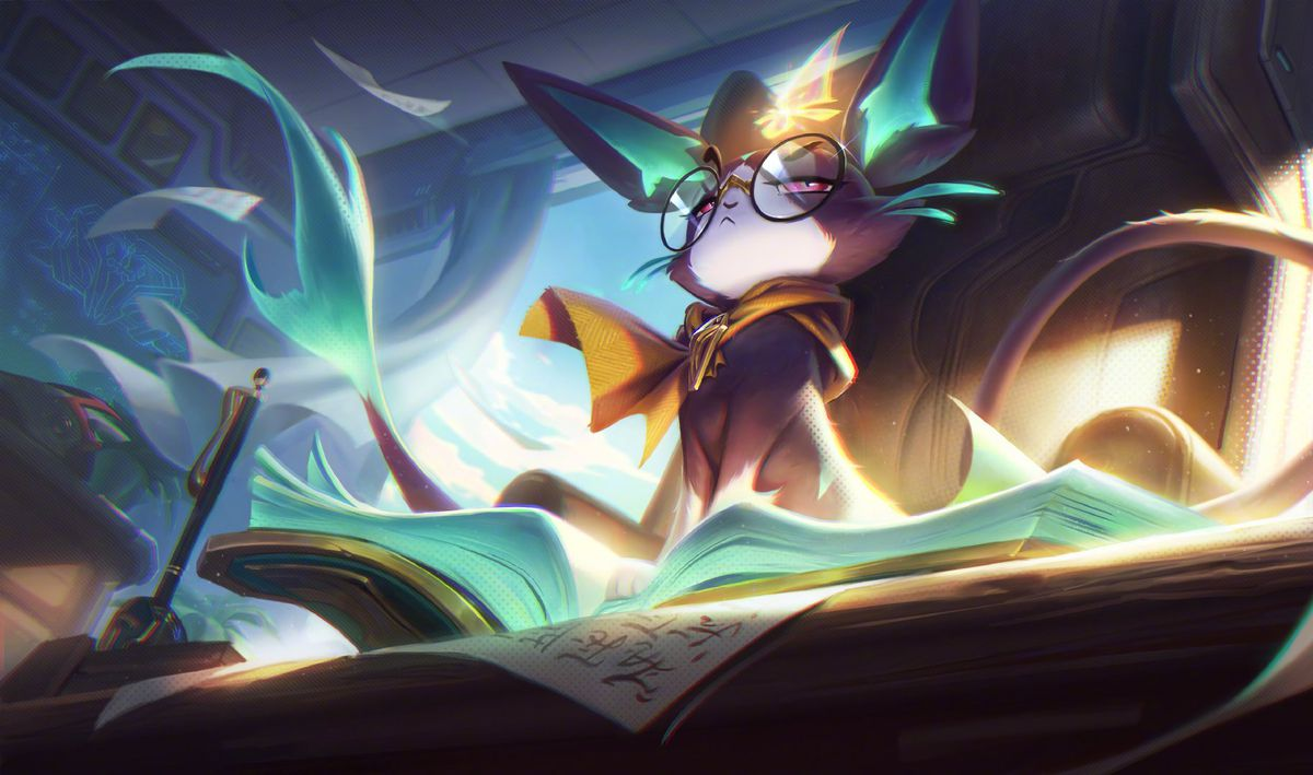 Professor Yuumi stands triumphantly on top of a book