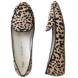 """<b>GAP</b> Printed Canvas Loafers in black leopard, <a href=""""http://www.gap.com/browse/product.do?cid=85615&vid=1&pid=349617012"""">$39.95</a>"""