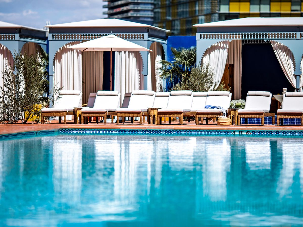 Pool with private cabanas