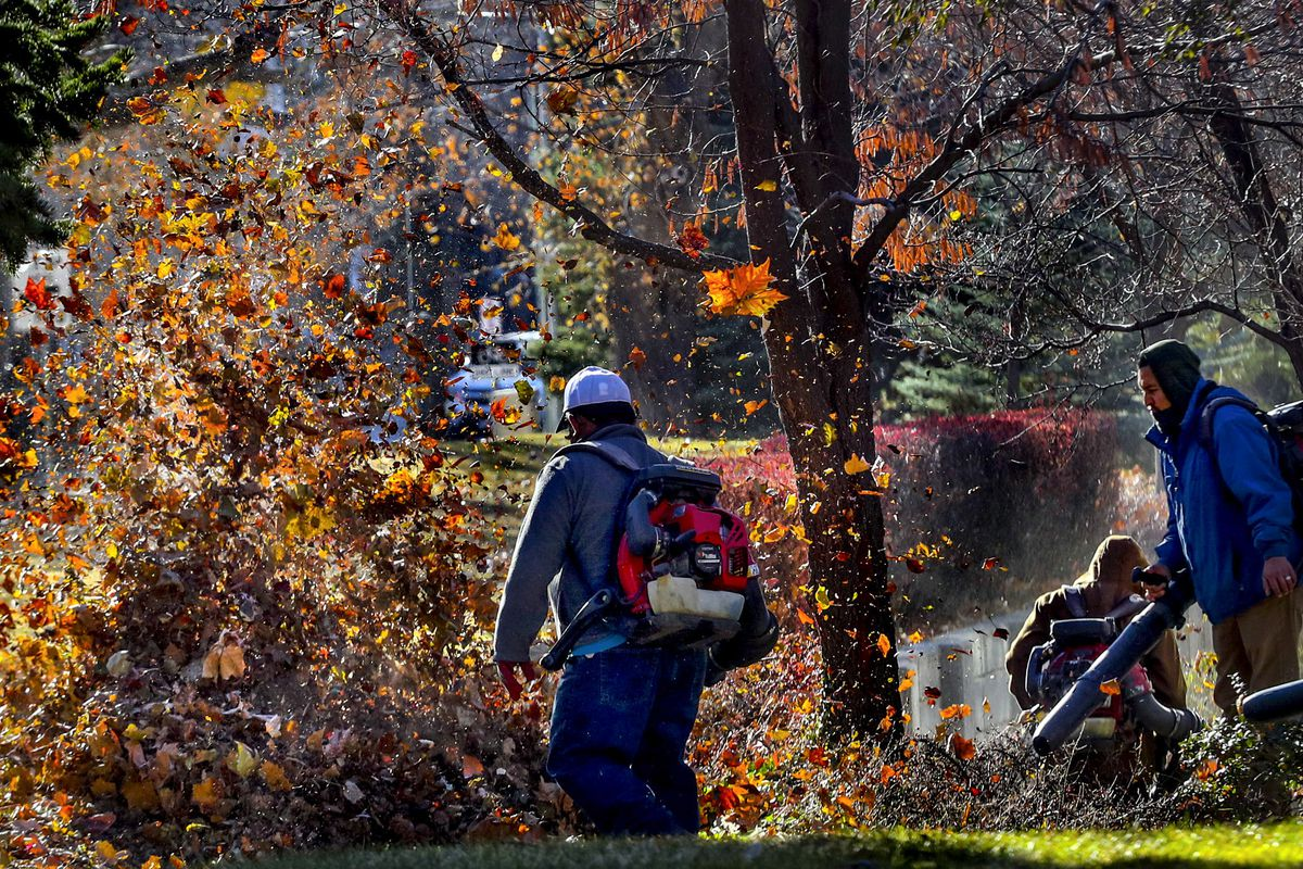 Colorful leaves fly through the air as members of the grounds crew at Westminster College team up to blow leaves into piles on the campus in Salt Lake City on Thursday, Dec. 3, 2020.