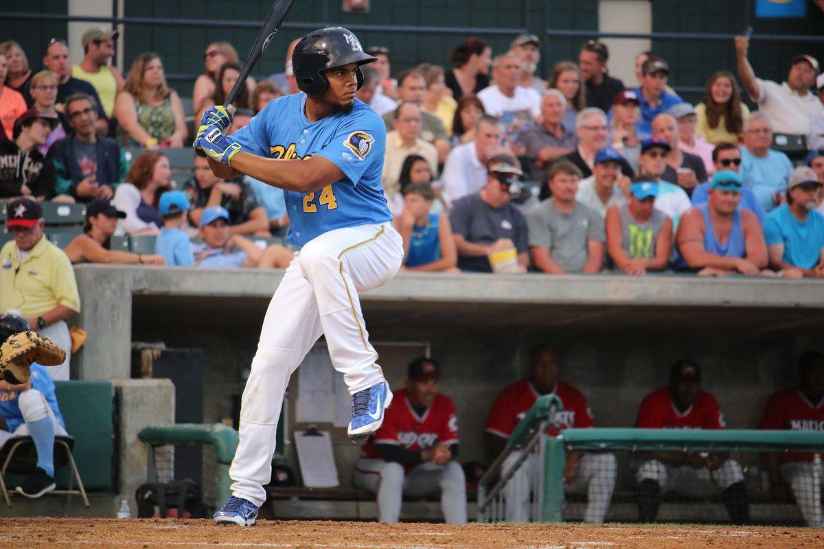 Jeimer Candelario bats for the Myrtle Beach Pelicans in June 2015