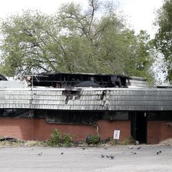 Damage caused by an early morning fire is photographed at A New Day Spa at 3975 S. Highland Drive in Salt Lake City on Wednesday, May 20, 2020.
