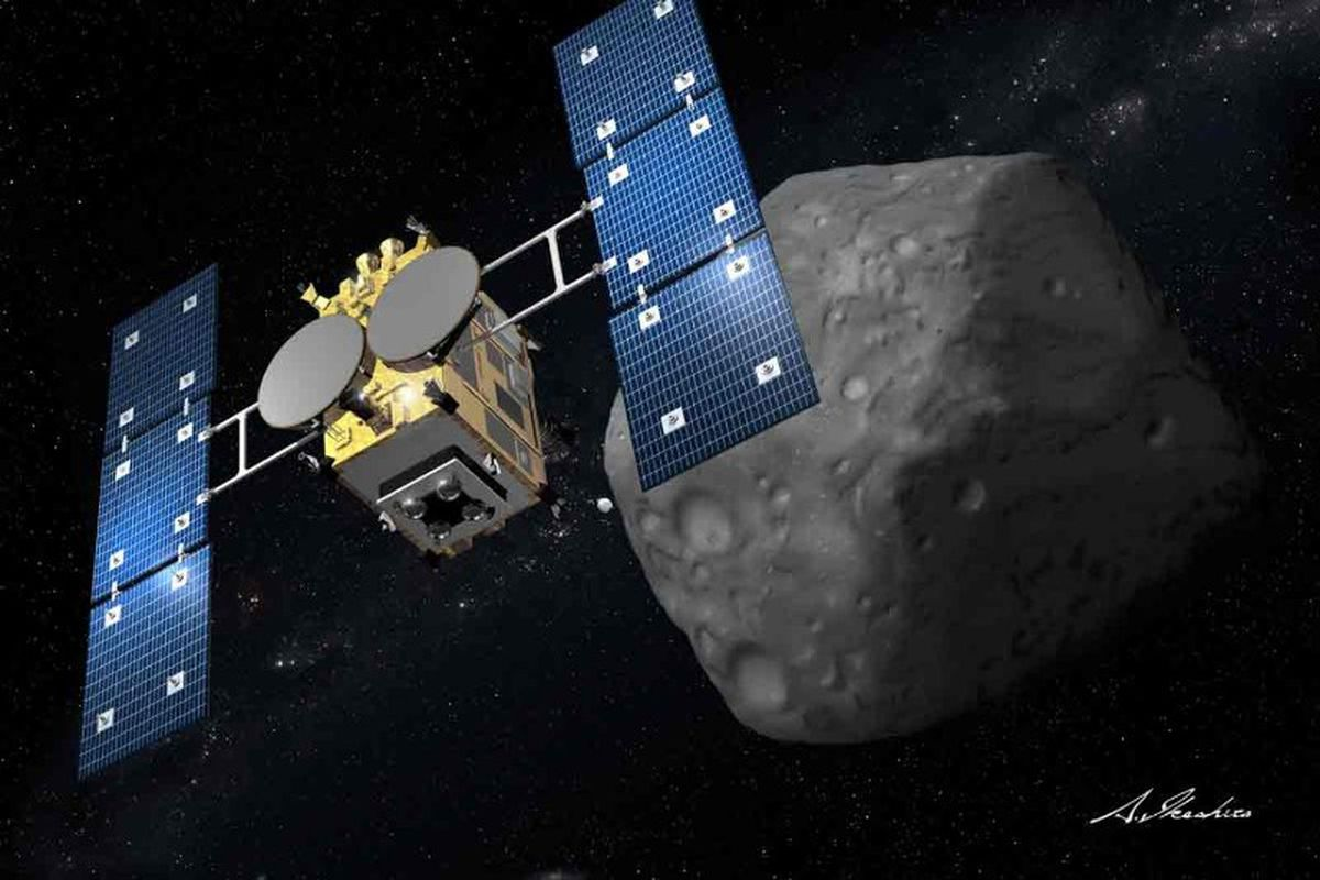 A rendering of Hayabusa-2 approaching an asteroid.