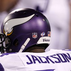 Aug 16, 2013; Orchard Park, NY, USA; A view of the helmet on Minnesota Vikings defensive end Lawrence Jackson (94) on the bench during the game against the Buffalo Bills at Ralph Wilson Stadium. Bills beat the Vikings 20-16.