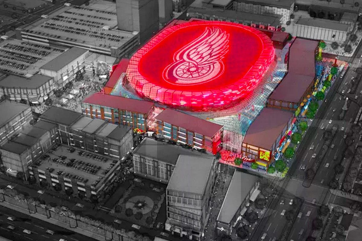 A rendering of the new Little Caesars Arena.