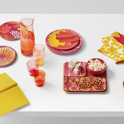 Dinner Plates, $24.99; Carafe Drinkware Set, $24.99; Reversible Placemats, $19.99; Bamboo Serving Set, $29.99; Kitchen Towels, $9.99