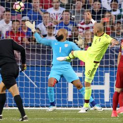 United States goalkeeper Tim Howard (1) misses the ball as Venezuela scores a goal during a soccer game at Rio Tinto Stadium in Sandy on Saturday, June 3, 2017.