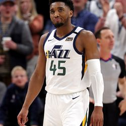 Utah Jazz guard Donovan Mitchell (45) grimaces after a missed shot as the Utah Jazz and the Denver Nuggets play an NBA basketball game at Vivint Arena in Salt Lake City on Wednesday, Feb. 5, 2020. Denver won 98-95, giving the Jazz their fifth straight loss.